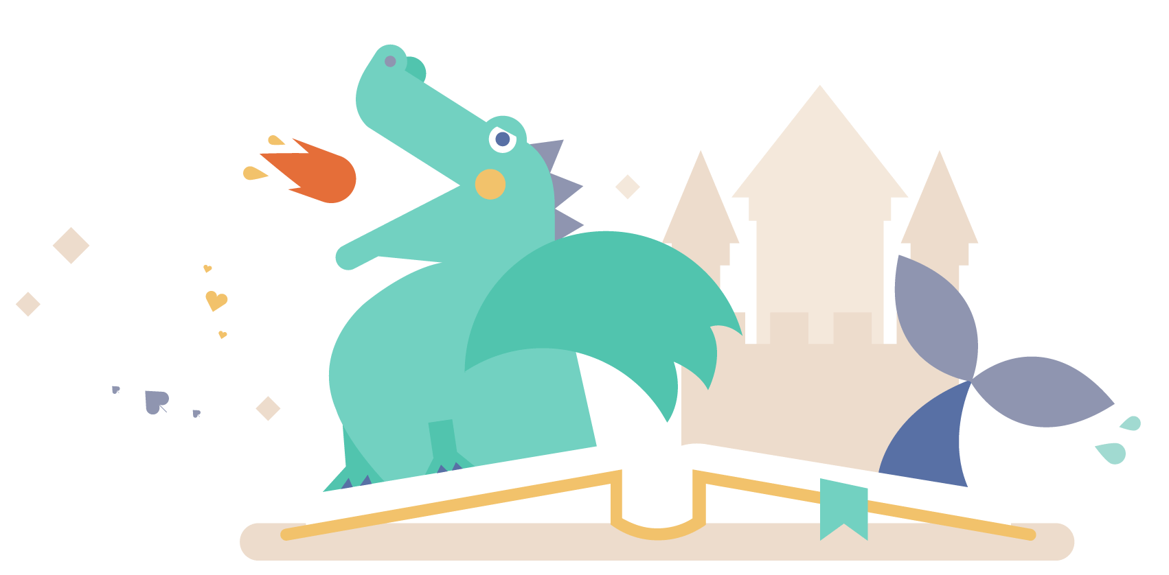 Illustrtion of a book of tales with a dragon and a castle